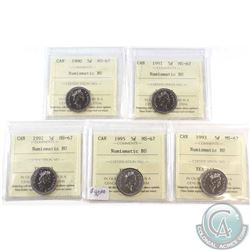 1990, 1991, 1992, 1993 & 1995 Canada 5-cent ICCS Certified MS-67 NBU. 5pcs