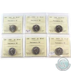 1997, 1998W, 1999, 2000, 2001P & 2002P Canada 5-cent ICCS Certified MS-67 NBU. 6pcs