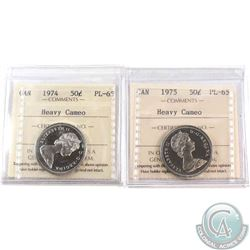 1974 & 1975 Canada 50-cent ICCS Certified PL-65. 2pcs