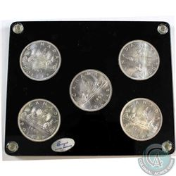 5x 1965 Canada Silver Dollar in Hard acrylic holder. Nice Cameo!