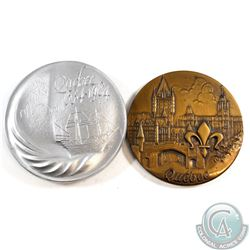2x Lombardo Mint Commemorative Aluminium (71 mm Diameter) and Bronze (68 mm in Diameter) Quebec Meda