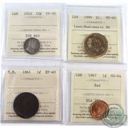 Estate lot of ICCS Certified Coins: 1861 New Brunswick 1-cent EF-40, 1947 1-cent MS-64, 1910 10-cent