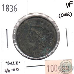 1836 USA Cent Very Fine (VF-20) corrosion