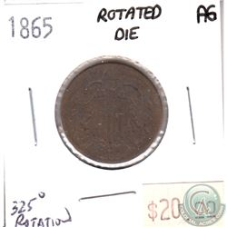 1865 USA 2 Cents About Good with Die Rotation 325 Degrees