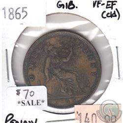 Great Britain 1865 Penny VF-EF (Cleaned)