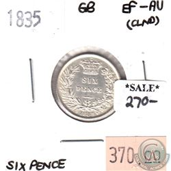 Great Britain 1835 6 Pence EF-AU (cleaned)