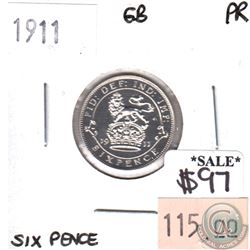 Great Britain 1911 6 Pence Proof