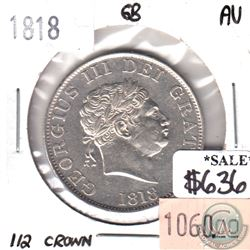 Great Britain 1818 1/2 Crown Almost Uncirculated