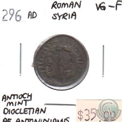 Roman Syria 296AD Antiocy Mint Diocletain Roman Coin VG-F