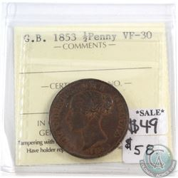 Great Britain 1853 1/2 Penny ICCS Certified VF-30