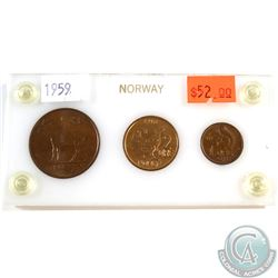 Norway 1959 3-coin Set in plastic holder
