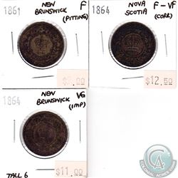 Group Lot of 3x 1861-1864 New Brunswick & Nova Scotia 1-cents VG to F-VF (impaired). 3pcs