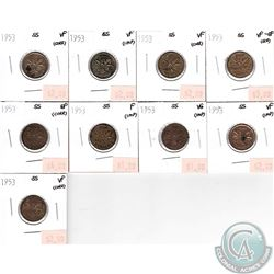 Lot of 1953 Canada 1-cents SS Very Good to Extra Fine (impaired). 9pcs