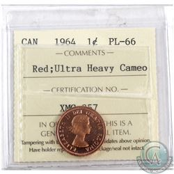 1964 Canada 1-cent ICCS Certified PL-66 Ultra Heavy Cameo; Red