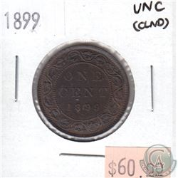 1899 Canada Large 1-cent Uncirculated (MS-60) cleaned