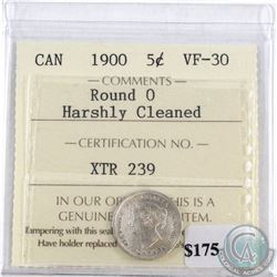1900 Canada 5-cents Round 0 ICCS Certified VF-30 (harshly cleaned)