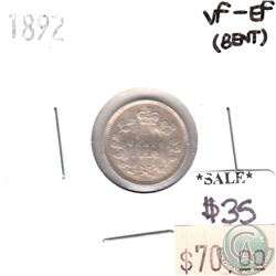1892 Canada 5-cents in VF-EF (VF-30) Condition (bent)