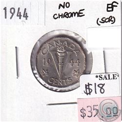 1944 Canada No Chrome Variety 5-cents in Extra Fine (EF-40) Condition (scratched)