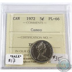 1972 Canada 5-cents ICCS Certified Cameo PL-66