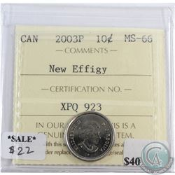 2003P Canada New Effigy 10-cents ICCS Certified MS-66