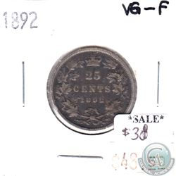 1892 Canada 25-cents in VG-F (VG-10) Condition