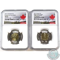 Pair of 2017 Canada Two Dollars Dance of the Spirit & Battle of Vimy Ridge both NGC Certified MS-66