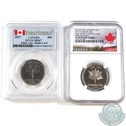 2x 2017 Canada 150th Anniversary Certified 50-cents: 2017 PCGS MS-67 & 2017 Silver Proof NGC PF-69 U