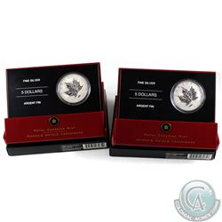 2005 VJ Day & 2005 VE Day 1oz .9999 Fine Silver $5 Commemorative Maple Leaf Coins with all original