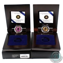 2011 Hunter & 2012 April Moon Bi-Annual Continuity Series $5 Sterling Silver and Niobium Coins. Oute