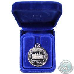 Monaco Sterling Silver 100 Francs Monte Carlo Casino Token with Bezel (Toned)