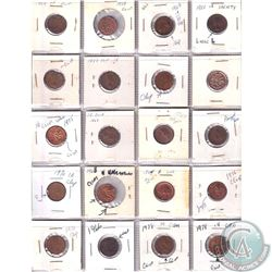 Estate lot of 1950-1978 Minor Errors and Varieties Canada 1-cents. Date range between 1950-1978. 20p