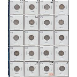 Estate lot of Mixed dated Canada Silver 10-cents 1901-1936. 20pcs