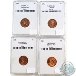 1969, 1979, 1980, 1981 Canada 1-cent PNG Certified MS-65. Please note holders may have faint scratch