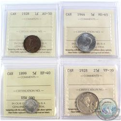 Lot of Canada ICCS Certified Coins - 1928 1-cent AU-50, 1899 5-cent EF-40, 1944 5-cent MS-65 & 1928