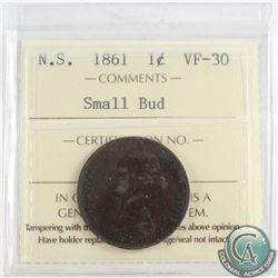 1861 Nova Scotia 1-cent ICCS Certified VF-30 Small Bud