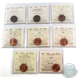 Estate Lot of 1943-1967 Canada 1-cent ICCS Certified Coins - 1943 MS-62 Trace Red, 1949 A to Denticl