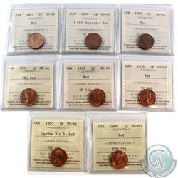 Estate Lot of 1947-1980 Canada 1-cent ICCS Certified Red - 1947 MS-63, 1949 A Off Denticle MS-63, 19