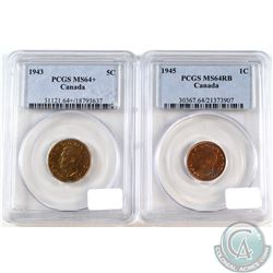 1943 & 1945 Canada 1-cent PCGS Certified MS-64. 1945 is Red/Brown. 2pcs
