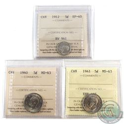 Estate Lot of 1912-1941 Canada 5-cent ICCS Certified - 1912 EF-40, 1940 MS-63 & 1941 MS-63. 3pcs