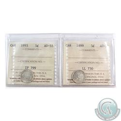 5-cent 1893 & 1899 ICCS Certified AU-55. 2pcs