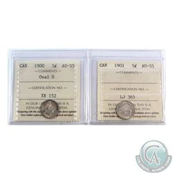 5-cent 1900 Oval 0 & 1901 ICCS Certified AU-55. 2pcs