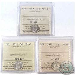 5-cent 1918, 1919 & 1920 ICCS Certified MS-63. 3pcs