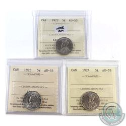 5-cent 1922 Near Rim, 1923 & 1924 ICCS Certified AU-55. 3pcs