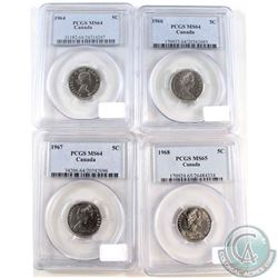 Lot of Canada 5-cent PCGS Certified coin: 1964 MS-64, 1966 MS-64, 1967 MS-64 & 1968 MS-65. 4pcs
