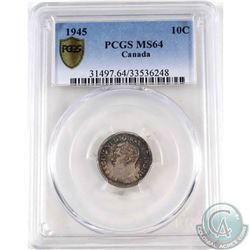 1945 Canada 10-cent PCGS Certified MS-64