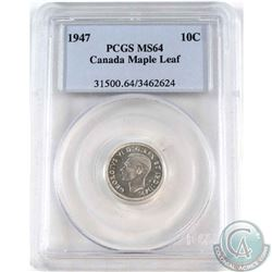 1947 Maple Leaf 10-cent PCGS Certified MS-64