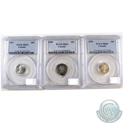 1957, 1958 & 1959 Canada 10-cent PCGS Certified MS-65. 3pcs
