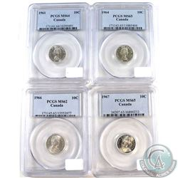 Lot of Canada 10-cents PCGS Certified: 1961 MS-64, 1964 MS-65, 1966 MS-63 & 1967 MS-65. 4pcs