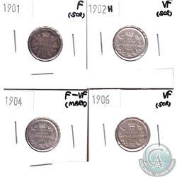 Lot of 4x Canada 10-cent Dated 1901, 1902H, 1904 & 1906 in Fine to VF (coins have various impairment