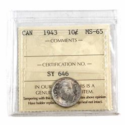 10-cent 1943 ICCS Certified MS-65